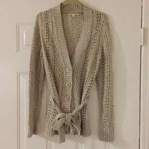 Oat color Banana Republic cardigan